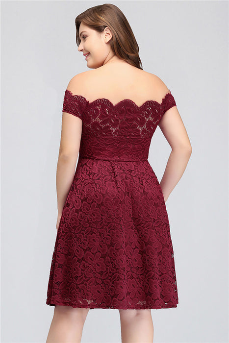 A| Chicloth Backless Lace Plus Size Burgundy Plus Size Dresses