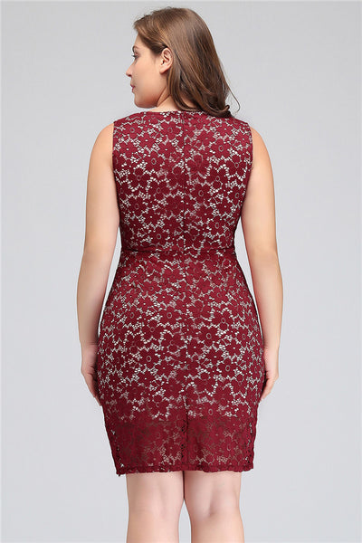 A| Chicloth Burgundy Short Lace Cocktail Dress Plus Size Dresses