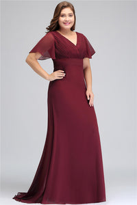 A| Chicloth Bat Sleeve Formal Gown Elegant Burgundy Chiffon Dresses Plus Size Dresses