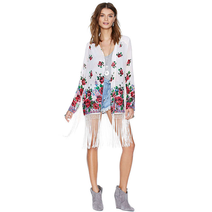 Chicloth Unique braided tassel puzzle chiffon cardigan-Chicloth
