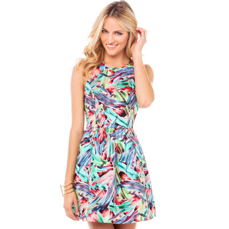 Chicloth Sweet High waist halter Scoop neck Dress