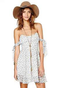Chicloth Bare shoulder Floral A-line Dress - Chicloth