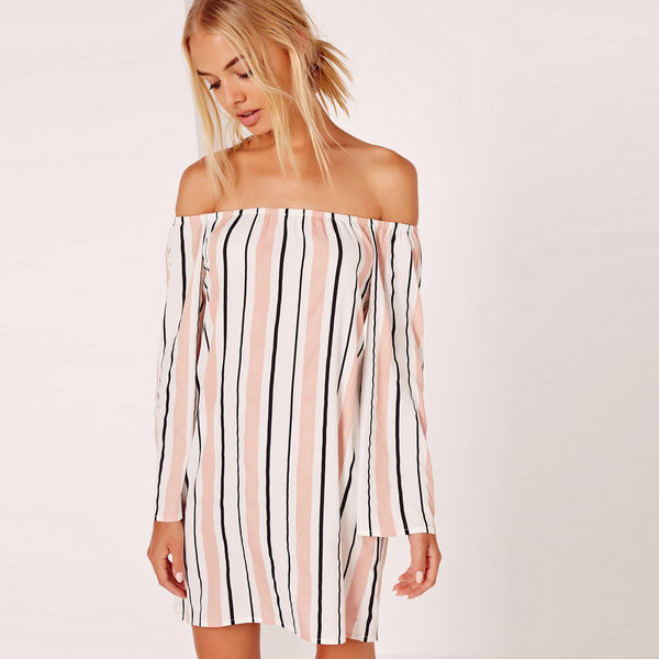Chicloth Striped Off the shoulder Loose Dress