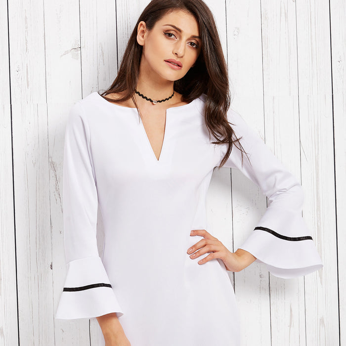 Chicloth V-neck White Scoop neck Mini Dress-Chicloth