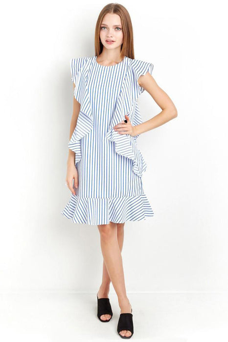 Chicloth Blue Striped Ruffle Mini Dress-Chicloth