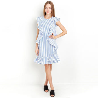 Chicloth Blue Striped Ruffle Mini Dress