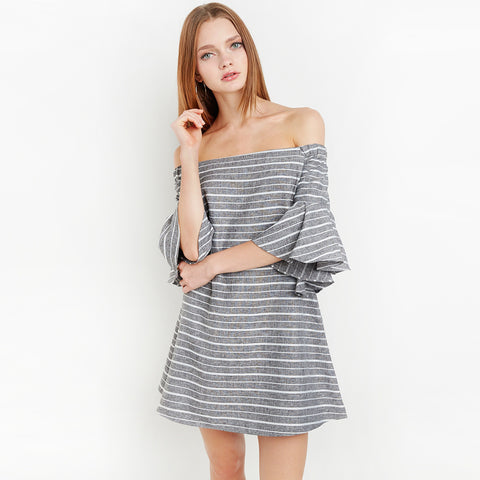 Chicloth Off the shoulder Gray Striped Dress