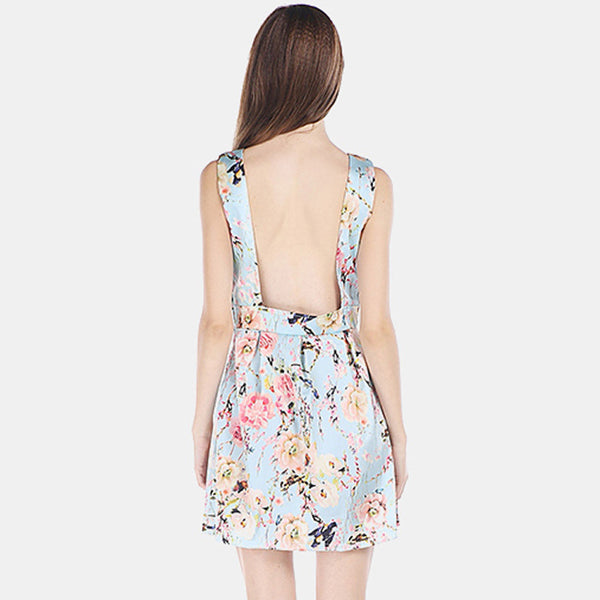 Chicloth Backless Mini Floral Dress-Chicloth