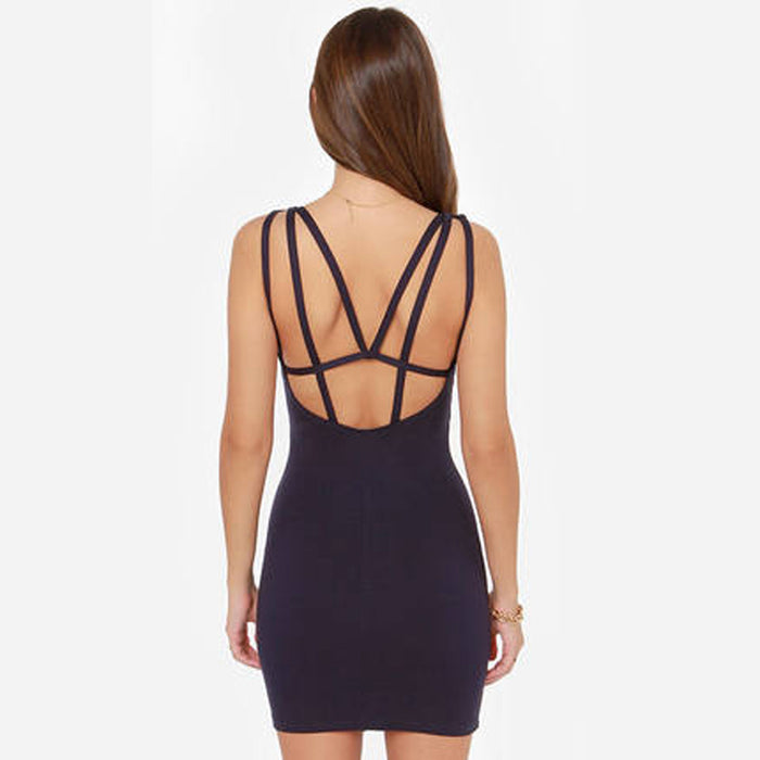 B| Chicloth Backless Mini length Sexy Bodycon Dress-Chicloth