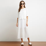 Chicloth White High Low Hem Maxi Dress