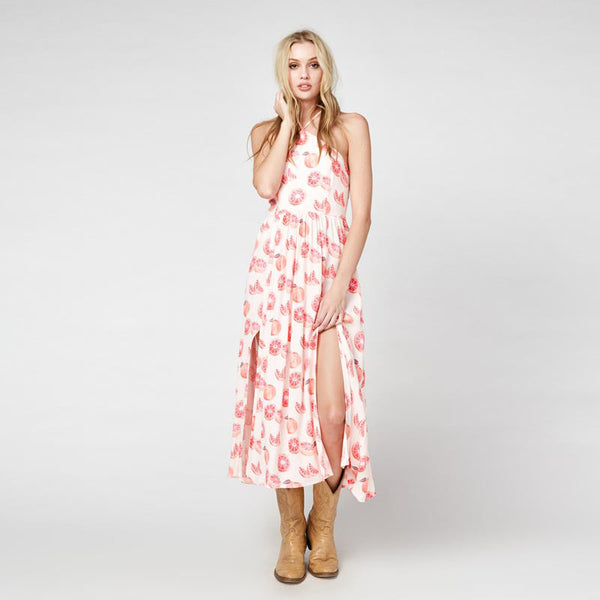 Chicloth Pink Pomegranate Printed Bohemian Dress