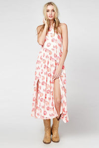 Chicloth Pink Pomegranate Printed Bohemian Dress-Chicloth