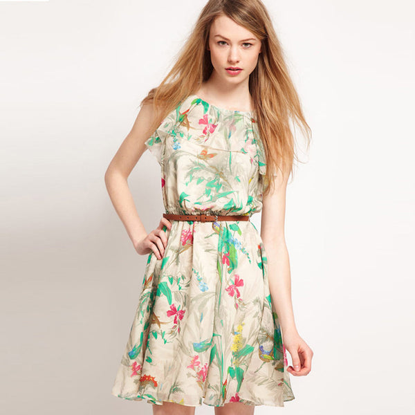 Chicloth Floral print Sleeveless A-Line Dress