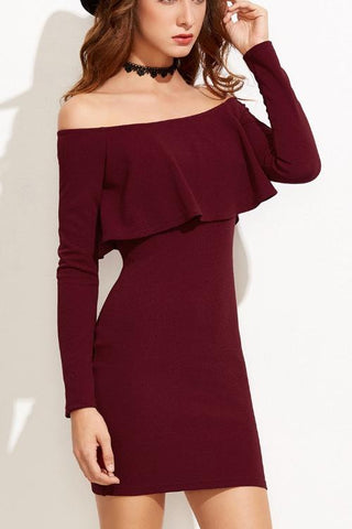 Chicloth Burgundy Off the shoulder Bodycon Dress