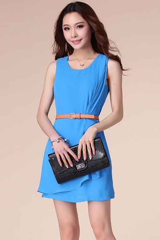 A| Chicloth Fashion wind flounted irregular folds to send belt vest Dress-Chicloth