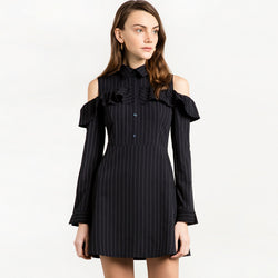 Chicloth Black Striped Bare shoulder Dress