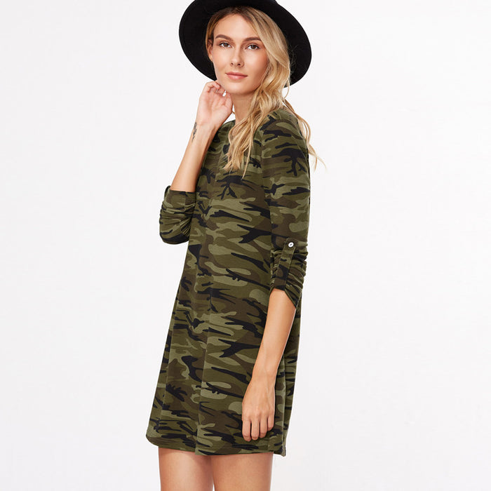 Chicloth Ocean Camouflage T-shirt Dress-Chicloth