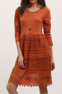 Chicloth Orange See through Lace Dress-Chicloth