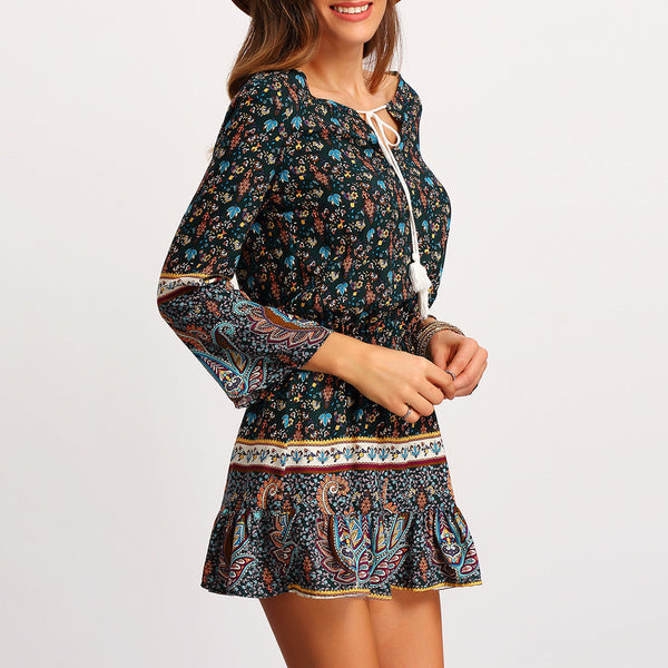 Chicloth Floral Printed Bohemian Dress