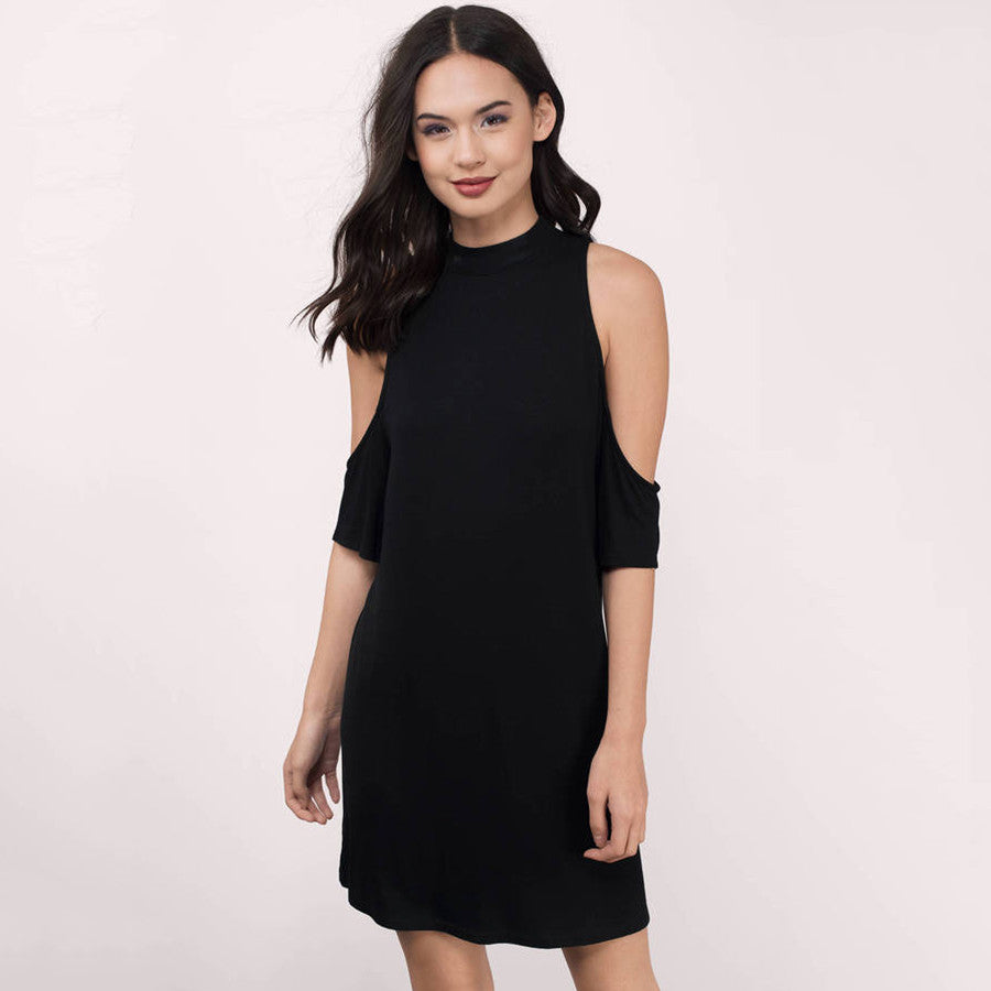 Chicloth Bare shoulder High neck Shift Dress