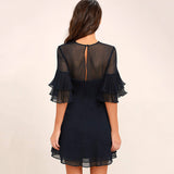 Chicloth Lotus leaf sleeves Black Dress