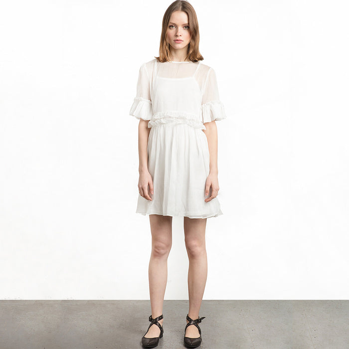 Chicloth Middle Sleeve White Dress-Chicloth