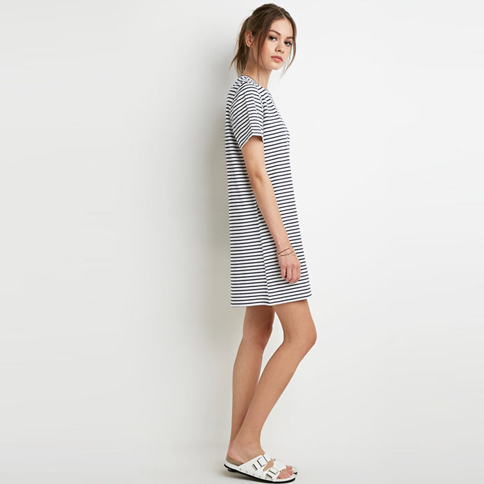 Chicloth Black and white stripes Scoop Neck Dress-Chicloth