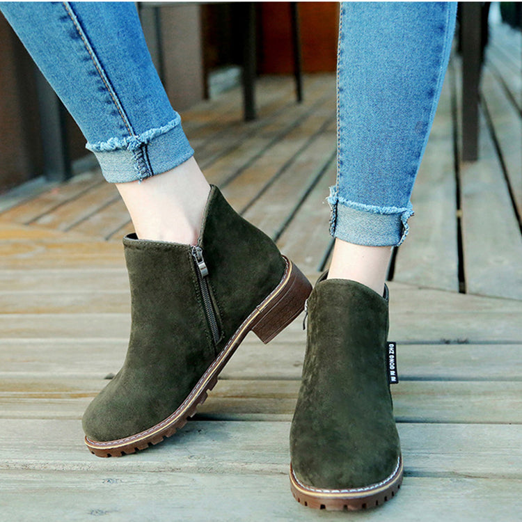 [Winter Fashion]Women's Boots Ankle Boots Low Heel Suede Shoes - Green / 37