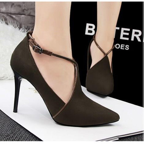 Women's Pumps Closed Toe Stiletto Heel Leatherette Shoes - Chicloth