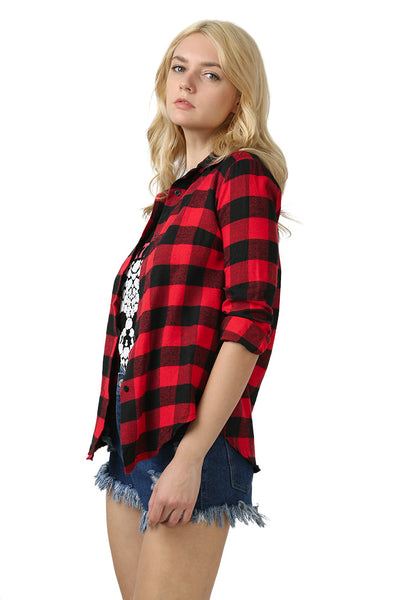 Chicloth New Wild Plaid Long Shirt Long Sleeve Casual Ladies Shirt 02