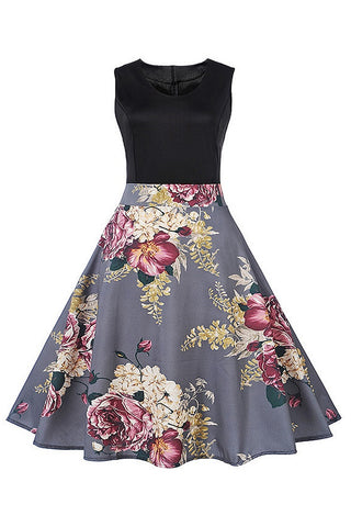 B| Chicloth Elegant Gray Ball Gown Luxury Floral Print Vintage Dress-Chicloth