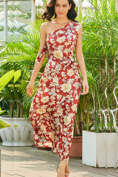 A| Chicloth One-Shoulder Flower Print Women's Maxi Dress - Chicloth