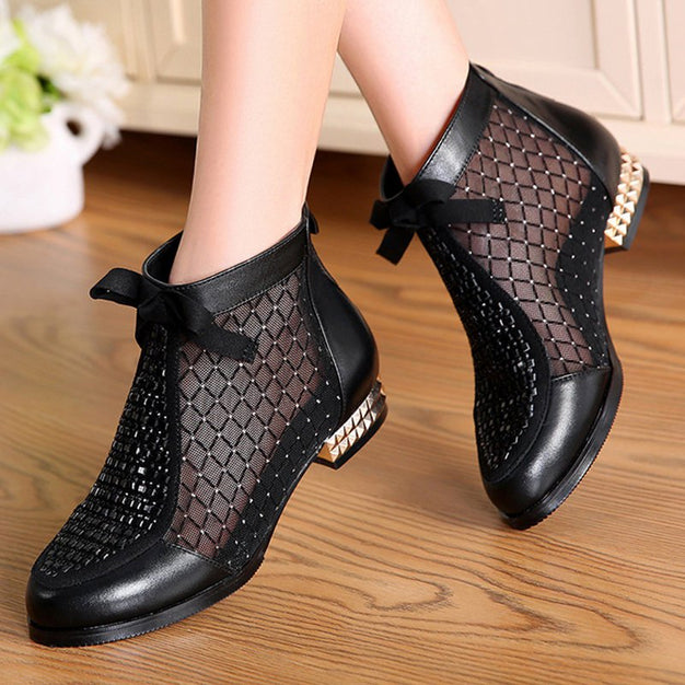 Chicloth - Chicloth Black Chunky Heel Bowknot Casual Mesh Boots