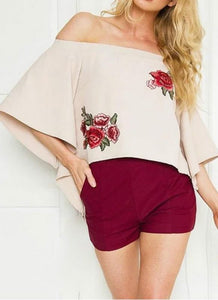 B| Chicloth Off Shoulder Floral Embroidery Flare Sleeve Irregular Hem Women's Loose Top