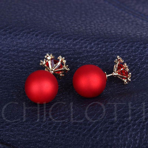 Chicloth Red Snowflake Ball Original Earrings