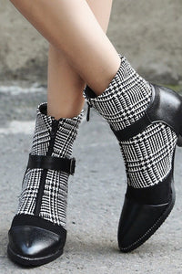 A| Daily Zipper Pointed Toe Buckle Chunky Boots-Boots-Chicloth