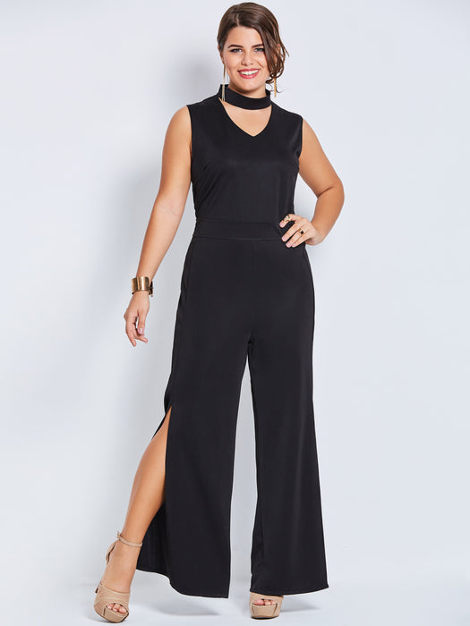 Chicloth Black V-Neck Sleeveless Jumpsuit-Jumpsuit-Chicloth