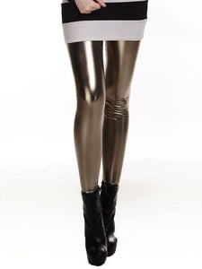 Women Slim Fashion Shiny Metal Metallic Color Leggings