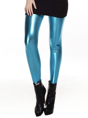 Women Slim Fashion Shiny Metal Lake Blue Leggings