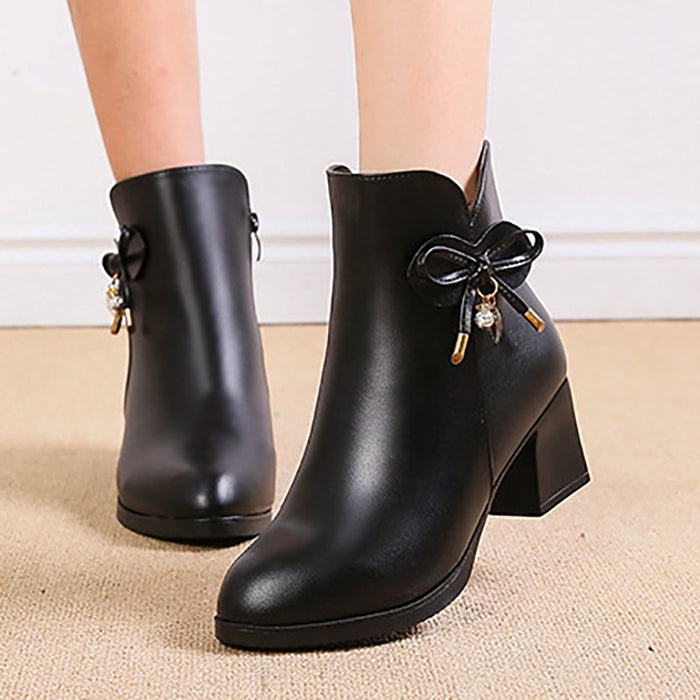 Bowknot Daily Chunky Heel Pointed Toe Zipper Elegant Boots-Boots-Chicloth