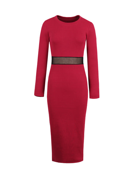 Chicloth Burgundy Knitted Round Neck Long Sleeve Waist Hollow Dress