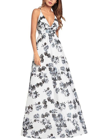 B| Chicloth Boho Women Maxi Floral Dress Spaghetti Strap Sleeveless Backless Beach Summer Dres