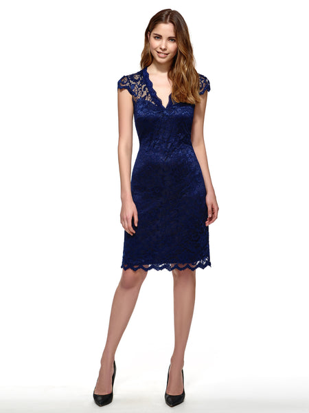Chicloth dark blue sexy lace flower dress