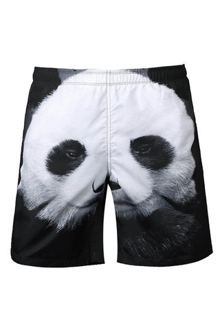 A| Chicloth Knee Length Panda Printed Men's Beach Board Shorts Swim Trunks-Chicloth