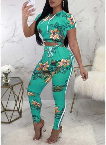 Women Two Piece Set Hooded Crop Top Pants Side Stripes Drawstring Suit