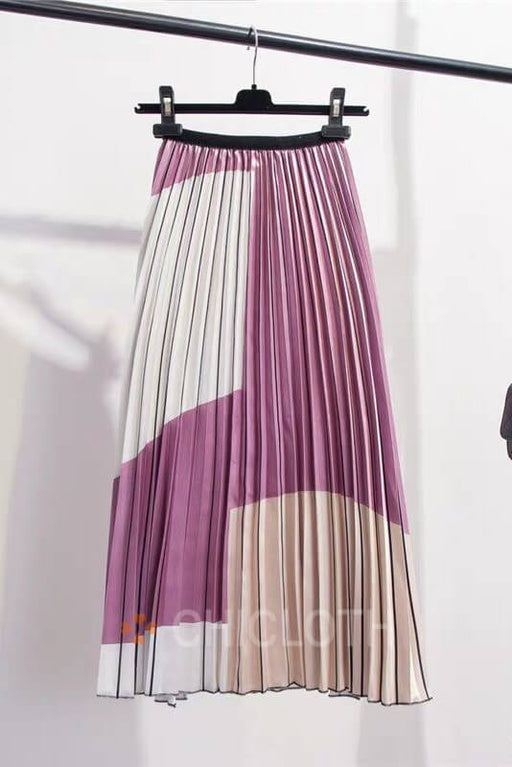 Chicloth Contrast Color Splice Pleated Skirt