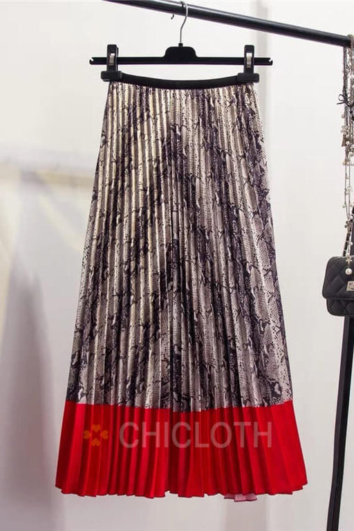 Chicloth Snakeskin Pattern Contrast Stitching Pleated Skirts