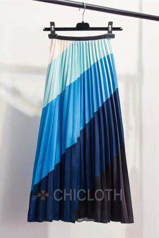 Chicloth Rainbow Discoloration Silk surface Retro Skirts