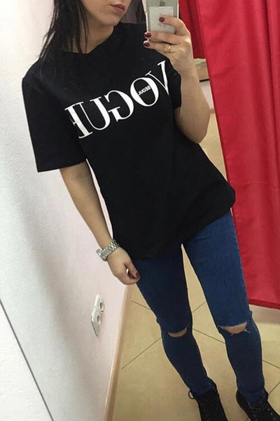 Chicloth  Red White Black Short Sleeve T-shirts Female Vogue Letter Print Top 05