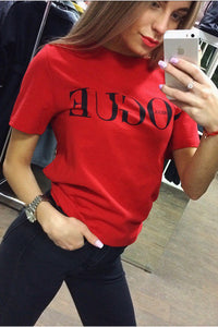 Chicloth  Red White Black Short Sleeve T-shirts Female Vogue Letter Print Top 06